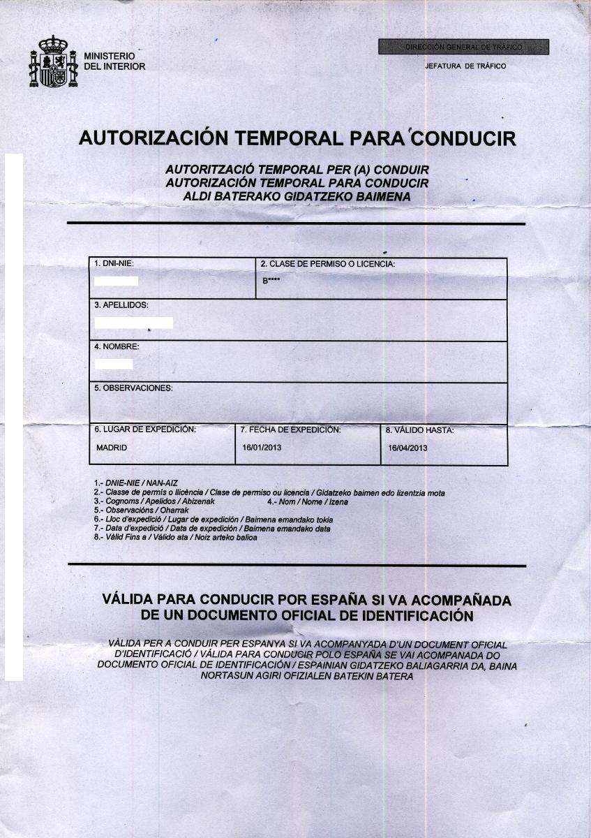Ejemplo de la autorización temporal