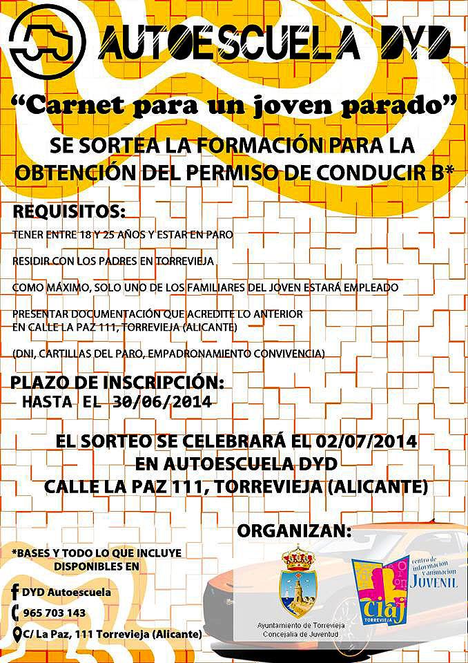 Tienes oportunidad hasta el 30 de Junio para sacar gratis el carnet de conducir en Torrevieja por la patilla.